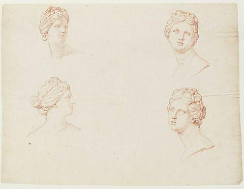 Quatre études de la tête de la Vénus Médicis, de trois quarts face, de face et de profil à droite
