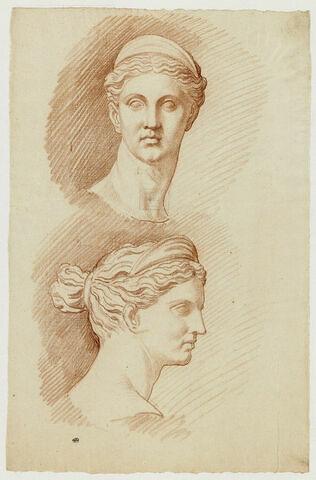 Deux études de la tête de Diane, vue de face et de profil à droite