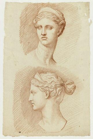 Deux études de la tête de Diane, vue de léger trois quarts gauche et de profil à gauche