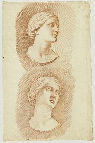 Deux études de la tête d'une fille de Niobé, vue de trois quarts droite