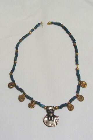 collier ; perle sphérique ; perle rondelle ; perle rondelle double ; pendentif