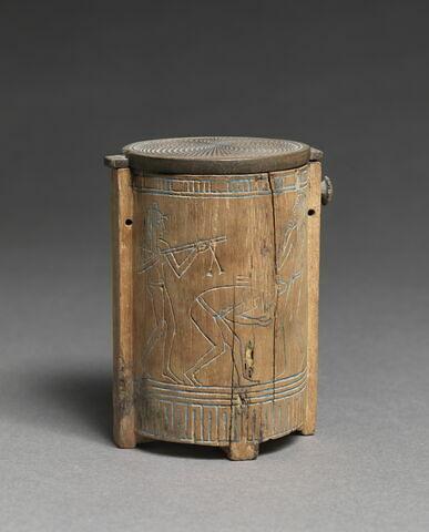 boîte cylindrique à pieds ; couvercle de boîte pivotant