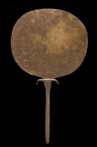 miroir en disque circulaire ; miroir à manche papyriforme
