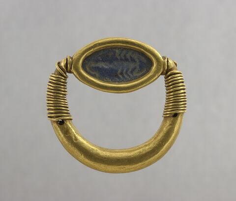 bague à axe à extrémités enroulées ; bague à chaton cerclé ; bague en anneau renflé ; scaraboïde