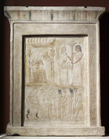 stèle rectangulaire à corniche ; stèle à 2 registres