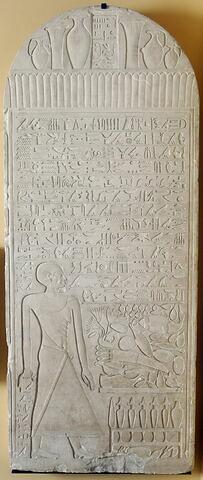 stèle cintrée ; stèle à 1 registre ; stèle rectangulaire à corniche ; Stèle de Hor