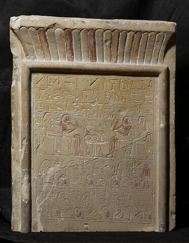 stèle rectangulaire à corniche ; stèle à 3 registres ; Stèle de Intef et Minhetep