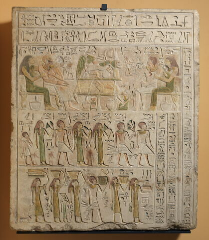 stèle rectangulaire ; stèle à 3 registres