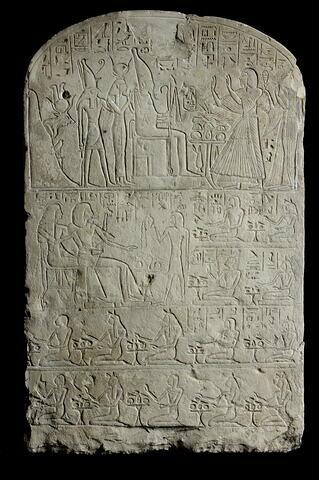 stèle cintrée ; stèle à 4 registres