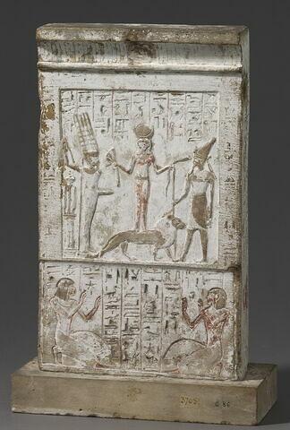 stèle rectangulaire à corniche ; stèle biface