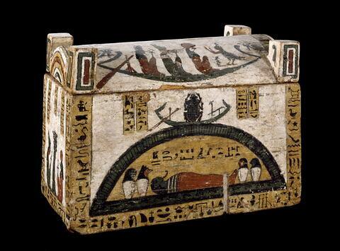 coffret à serviteurs funéraires rectangulaire à poteaux d'angle ; coffret à serviteurs funéraires à couvercle bombé