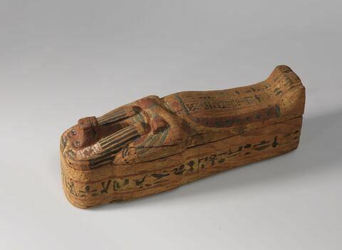 sarcophage à viscères momiforme ; élément momifié