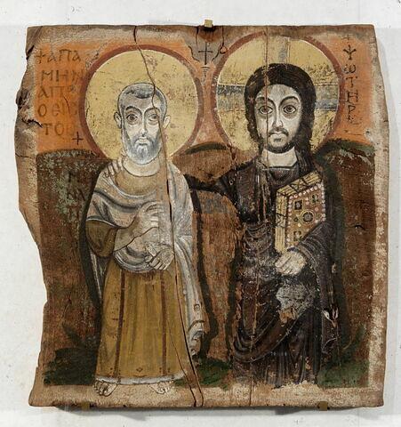 icône ; Le Christ et l'abbé Ména