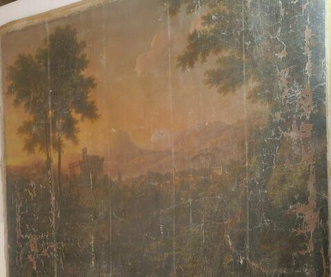 Paysage avec figures et animaux ; coucher du soleil, rentrée des bergers