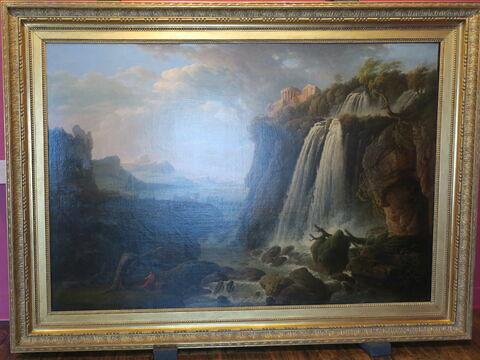 Vue des Cascatelles de Tivoli et du Temple de la Sybille avec Horace méditant