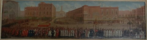 Procession sortant de la cathédrale de Saint-Étienne de Toulouse avec ostention des reliquaires