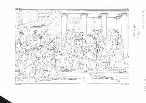 Le Berger Phorbas présente Oedipe enfant à la reine de Corinthe