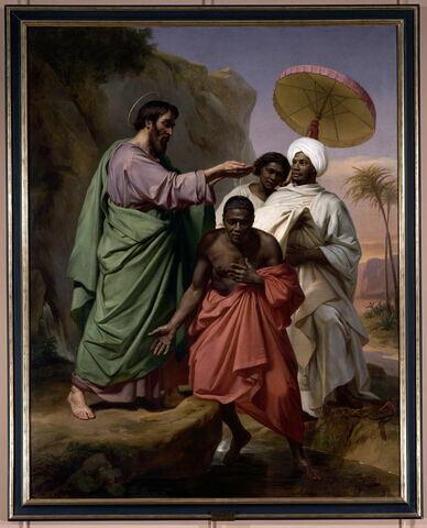 Saint Philippe baptisant l'Eunuque de la reine d'Éthiopie sur le chemin de Jérusalem à Gaza