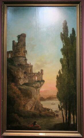Paysage avec une tour en ruine