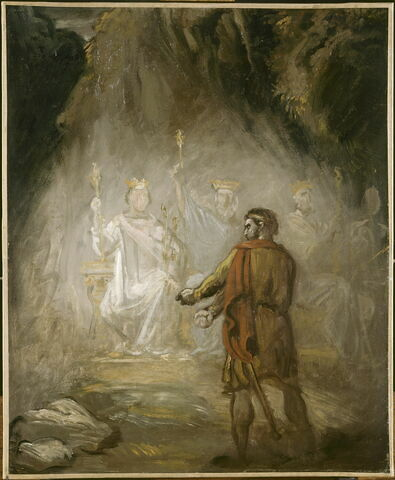Macbeth apercevant les spectres des rois. Esquisse.