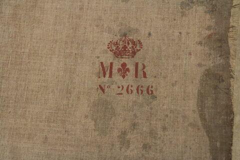 déroulé ; dos, verso, revers, arrière ; détail marque au pochoir © 2012 Musée du Louvre