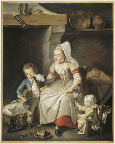 Une Mère (en costume de Cauchoise) dans sa cuisine avec deux de ses enfants