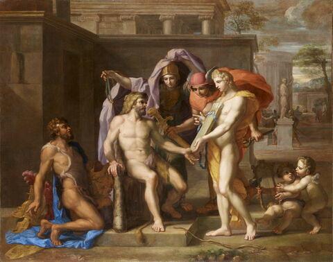 Hercule à qui les dieux donnent des armes pour défendre Thèbes des insultes dont les Minyens la menaçaient