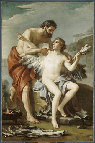 Dédale et Icare, dit aussi Dédale dans le labyrinthe, attachant les ailes à Icare