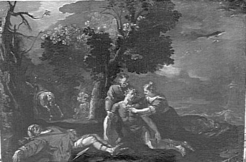 Tancrède soigné par Herminie et Vafrin après le combat d'Argant