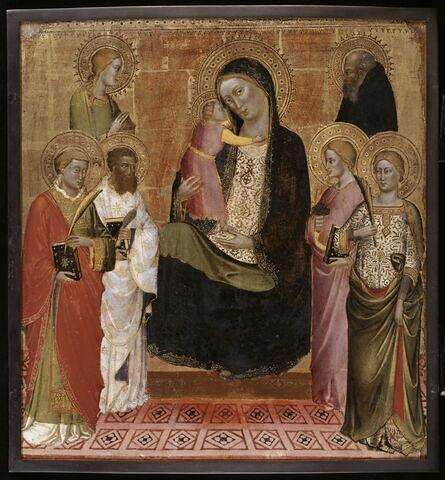 La Vierge et l'Enfant avec six saints : Laurent, Barthélemy, Madeleine, Catherine (?), Lucie (?), Antoine abbé.