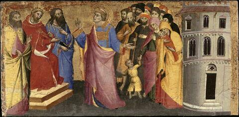 Saint Laurent rassemble les pauvres et les malades, et les présente à l'empereur comme les vrais trésors de l'Église.