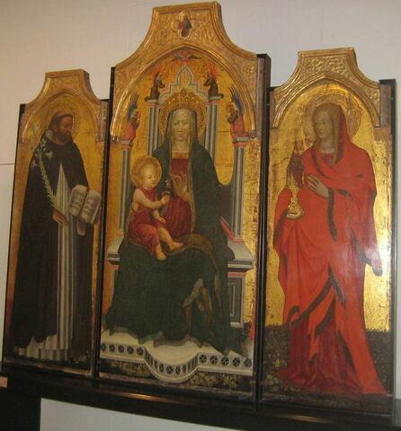 La Vierge et l'Enfant (au-dessu, dans un quadrilobe : Dieu le Père),   saint Dominique, sainte Madeleine