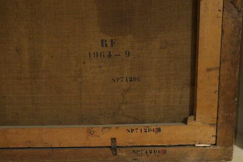 dos, verso, revers, arrière ; détail marquage / immatriculation ; détail marque au pochoir © 2018 Musée du Louvre / Peintures
