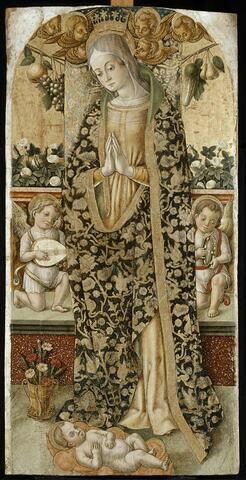 La Vierge adorant l'Enfant entre deux angelots musiciens