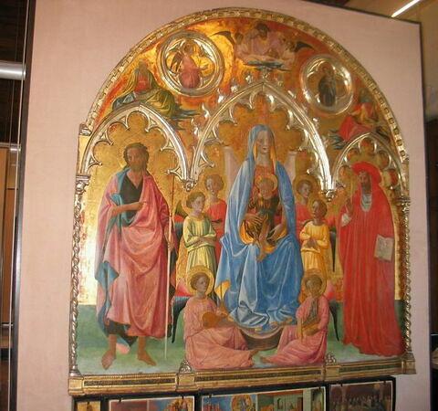 La Vierge et l'Enfant entre saint Jean Baptiste et saint Jérôme. Au-dessus : Dieu le Père. L'Annonciation, Saint Marc, Isaïe (Retable Rinieri)