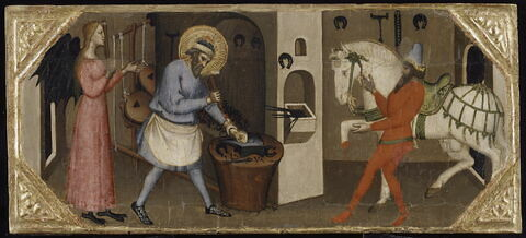 """Deux scènes de la Légende de saint Eloi (le """"diable mouché"""" et le cheval ferré)"""