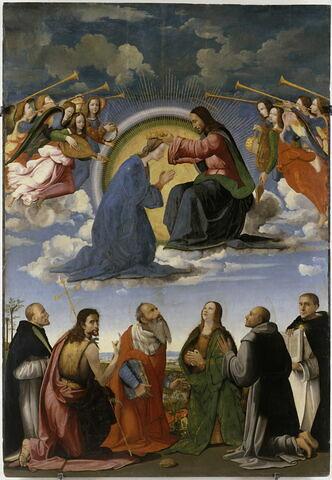 Le Couronnement de la Vierge avec six saints (Pierre martyr, Jean-Baptiste, Jérome, Madeleine, François et  Thomas d'Acquin)