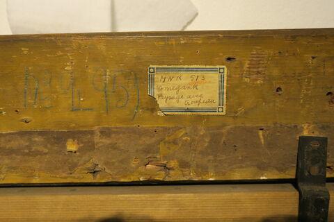 vue avec cadre ; dos, verso, revers, arrière ; détail étiquette ; détail inscription © 2017 Musée du Louvre / Peintures