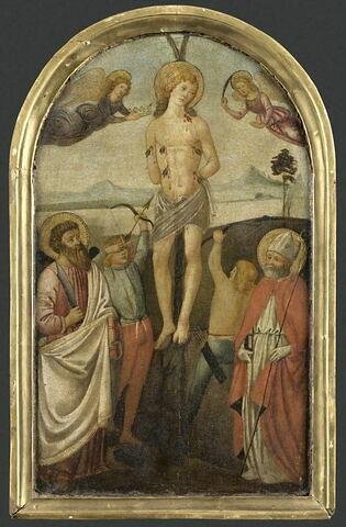 Le Martyre de saint Sébastien entre saint Barthélémy et un saint Evêque