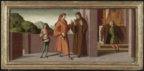 Trois scènes de la vie de saint Jean Gualbert : Jean Gualbert prend l'habit monastique malgré la volonté de son père.