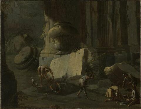 Scène nocturne dans des ruines