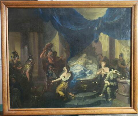 Octave se rendant chez Cléopâtre pour l'amener en captivité à Rome, la trouve sur son lit de mort