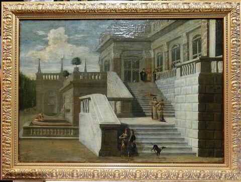 Personnages sur un escalier de Palais