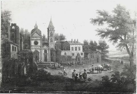 Vue d'une église de village