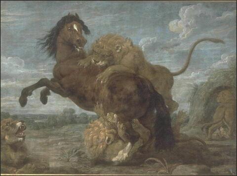 Un Cheval attaqué par des lions