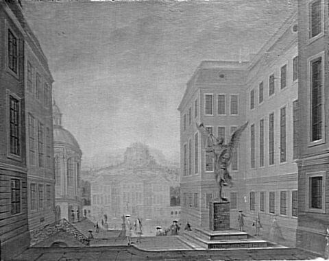 Dresde, vue urbaine avec statue de la Renommée