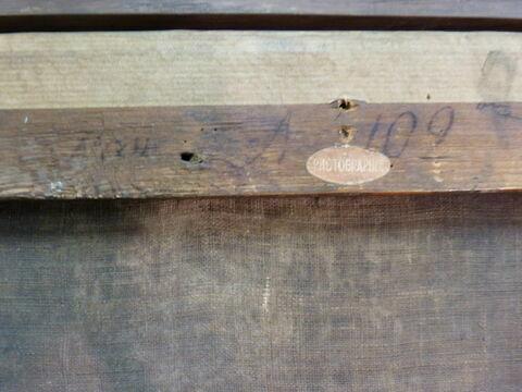 dos, verso, revers, arrière ; détail étiquette ; détail inscription © 2016 Musée du Louvre / Dorit Barzel
