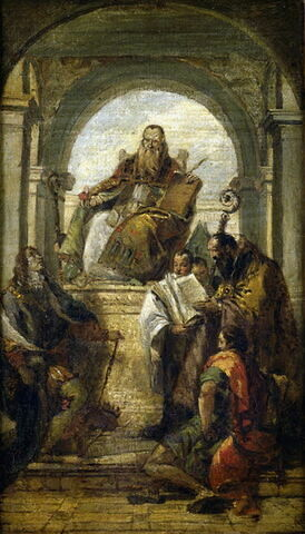 Saint Augustin, saint Louis des Français, saint Jean l'Evangéliste et un saint évêque