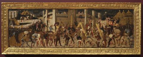 Scène de bataille : Siège de Carthage par Scipio l'Aemilianus. Panneau de Cassone