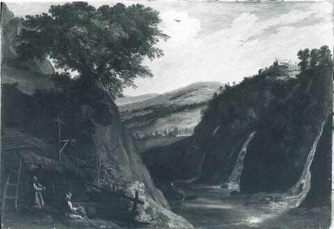 Moines dans un paysage